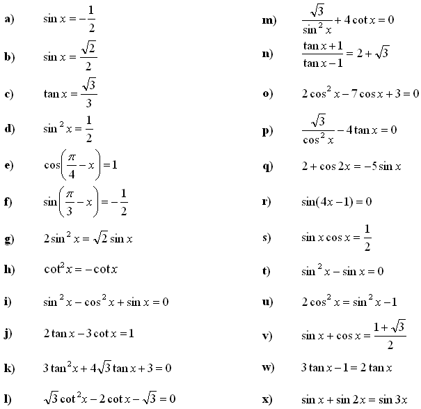 Trigonometric equations and inequalities - Exercise 1